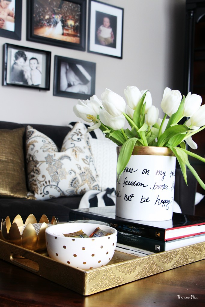 Knock it off DIY Monthly Blogger Challenge how to create a Kate spade inspired vase - daisy place vase with gold leaf diy vase with untensil holder This is our Bliss www.thisisourbliss.com