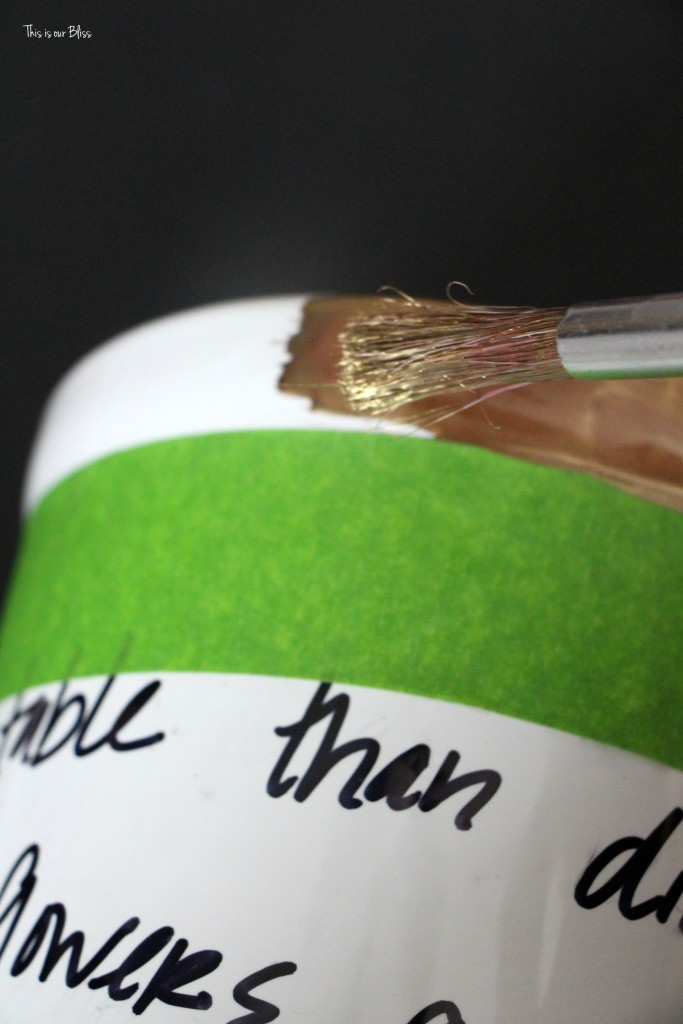 Knock it off DIY how to create a Kate spade inspired vase - daisy place vase with gold leaf diy vase with untensil holder This is our Bliss www.thisisourbliss.com