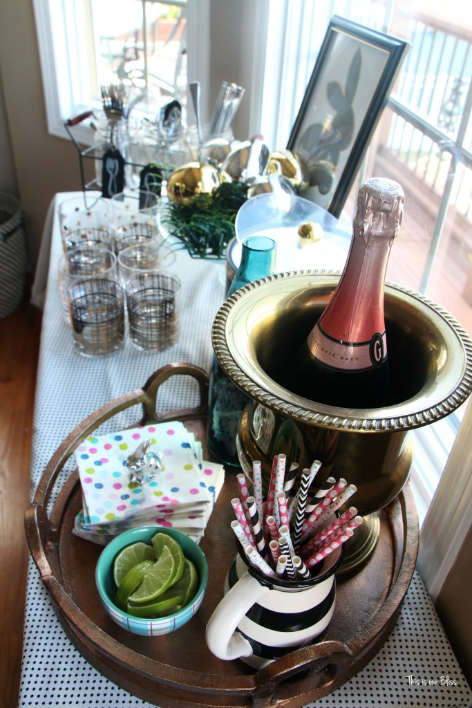 Easter brunch beverage bar drink table | Spring tablescape || This is our Bliss