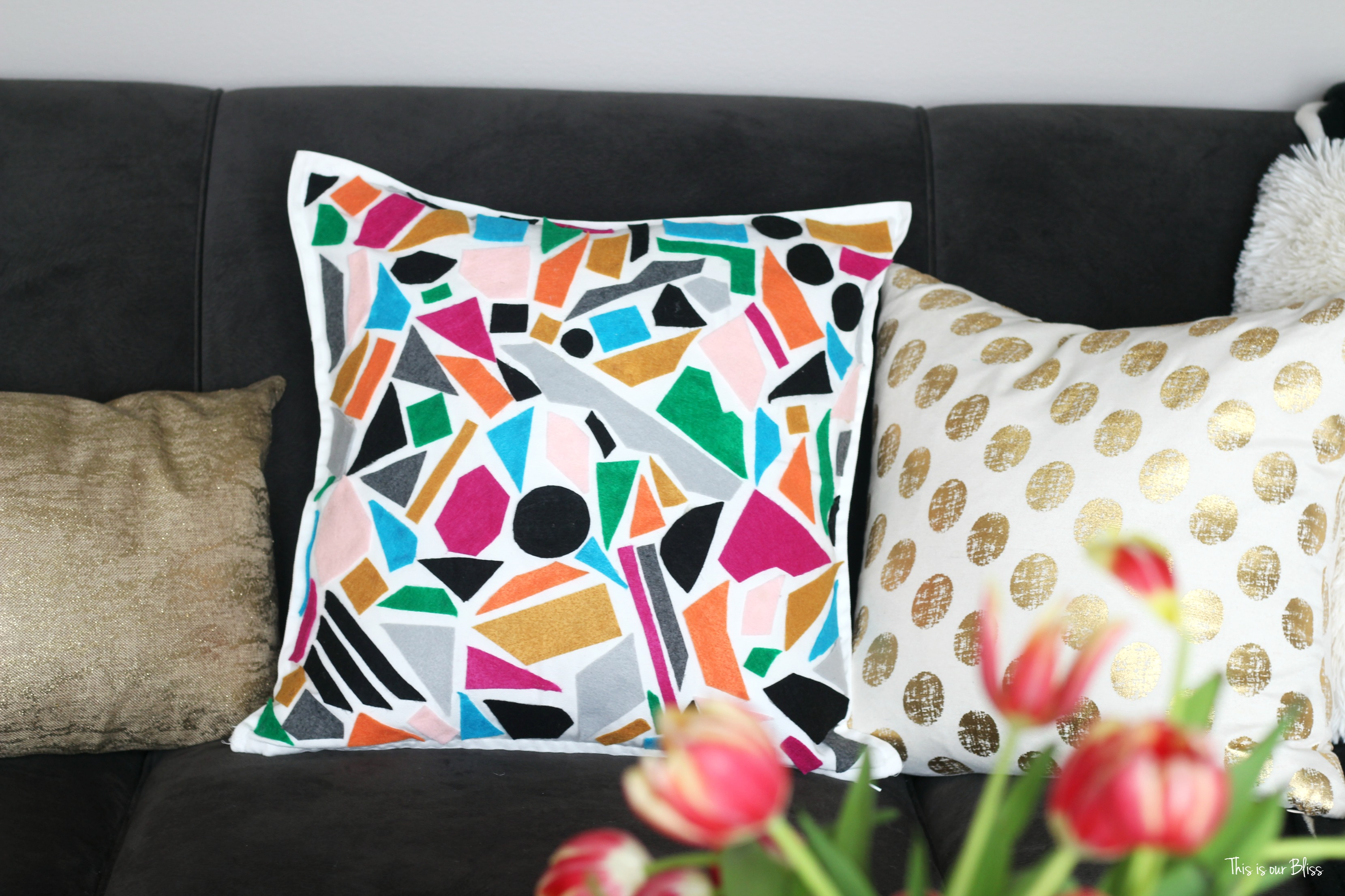 How To Diy No Sew Felt Pillow World Market Knock Off This Is Our