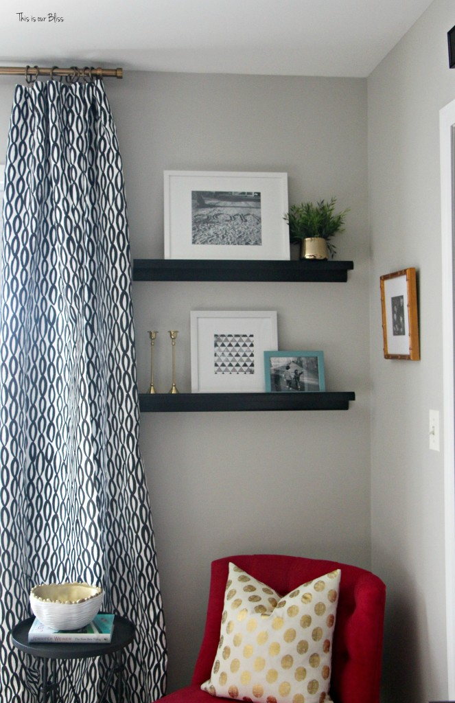 New year new room master bedroom refresh - black and white minted curtains with floating picture ledge shelves - pink accent chair This is our Bliss www.thisisourbliss.com