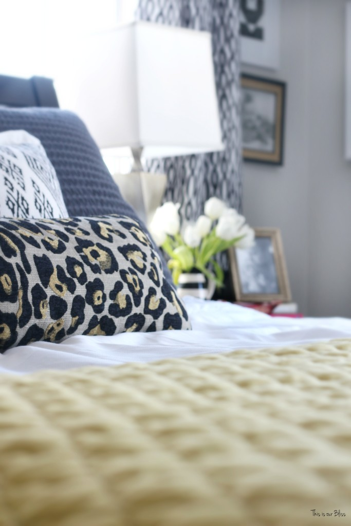 New year new room master bedroom refresh challenge - pattern play bedroom leopard pillow with black and white accents This is our Bliss www.thisisourbliss.com