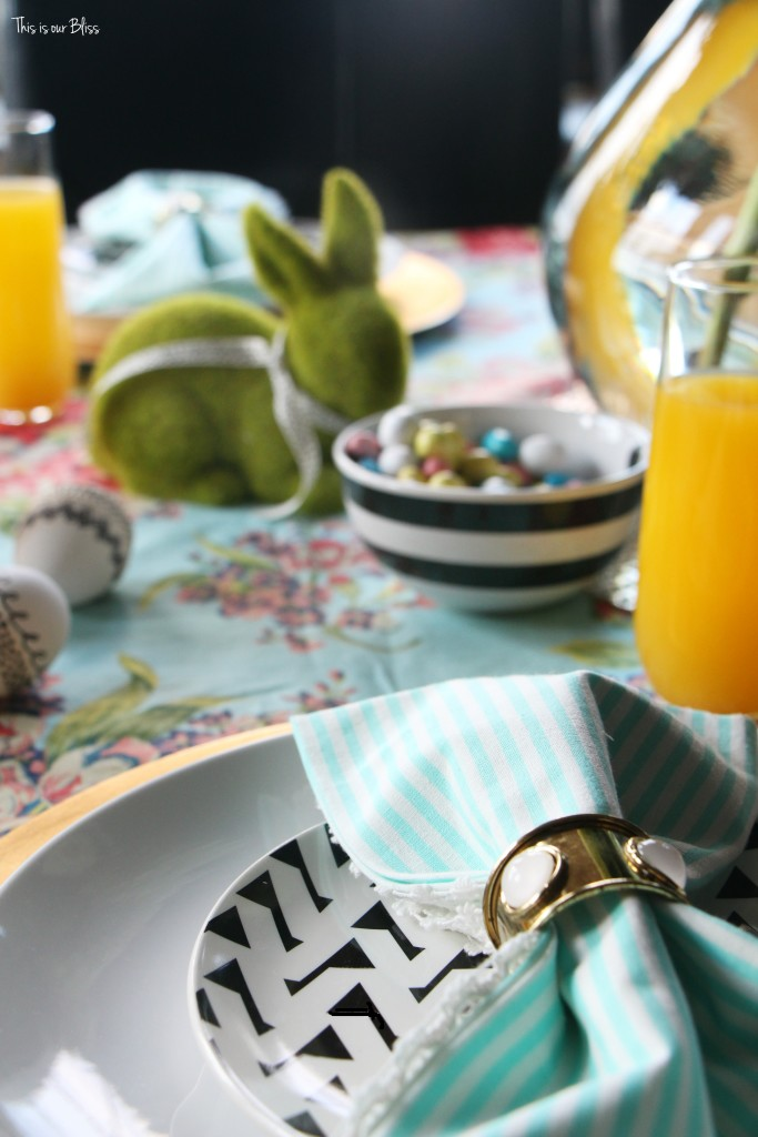 Spring tablescape | Easter Brunch | easter table | pattern play with florals & stripes || This is our Bliss