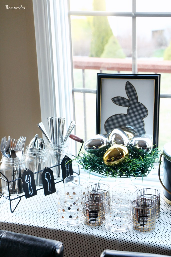 Spring tablescape | Easter Table | drink table & bar tray || This is our Bliss