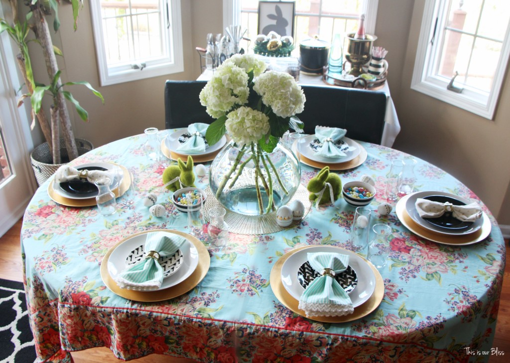 Spring tablescape | Easter table | florals stripes and polka dots pops of black and white || This is our Bliss
