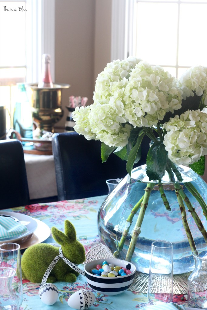 Spring tablescape | Easter table hydrangeas | floral & striped table linens || This is our Bliss