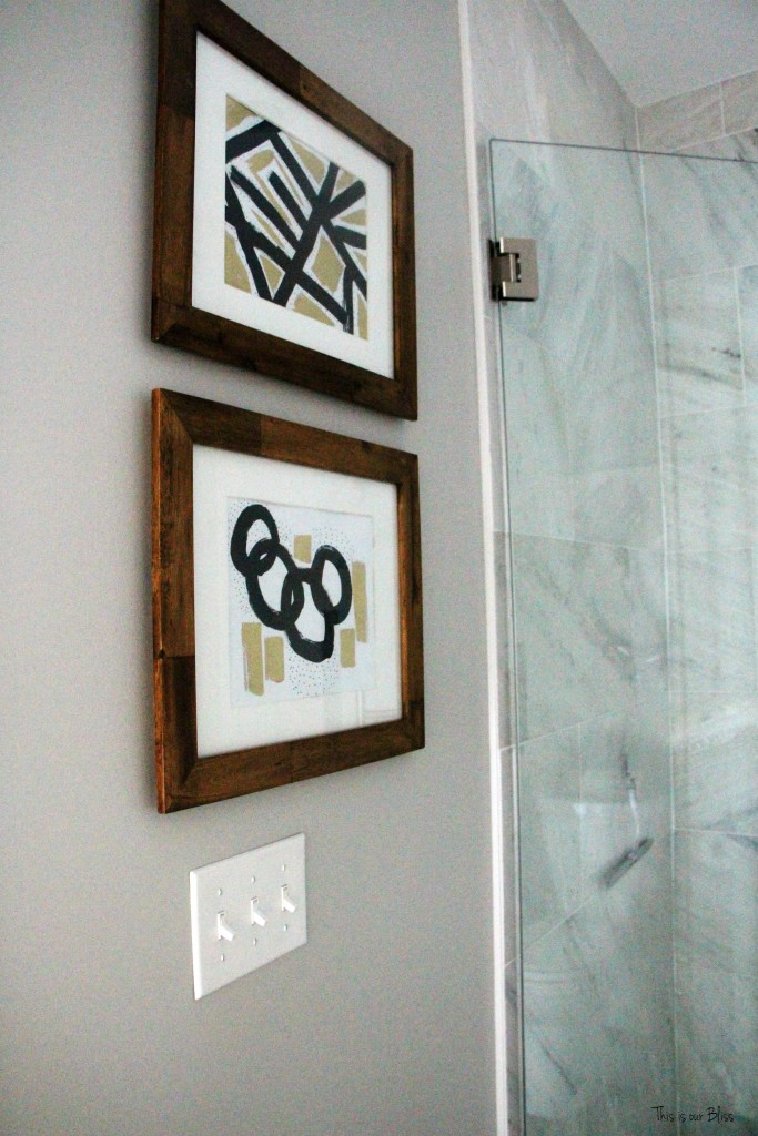 Basement Bathroom Reveal | Marble shower | DIY Abstract art | This is our Bliss