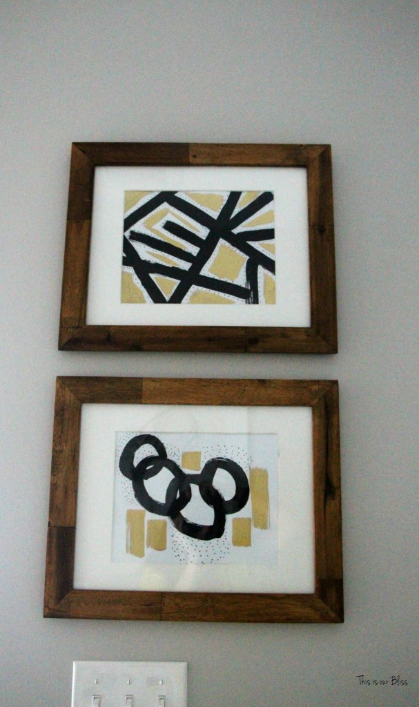 Basement Bathroom Reveal   black white and gold bathroom art   DIY Abstract art   wood frames    This is our Bliss