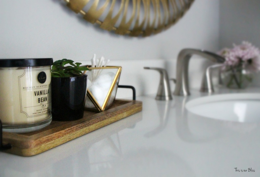 Basement Bathroom reveal | vanity top decor gold neutral bathroom || This is our Bliss
