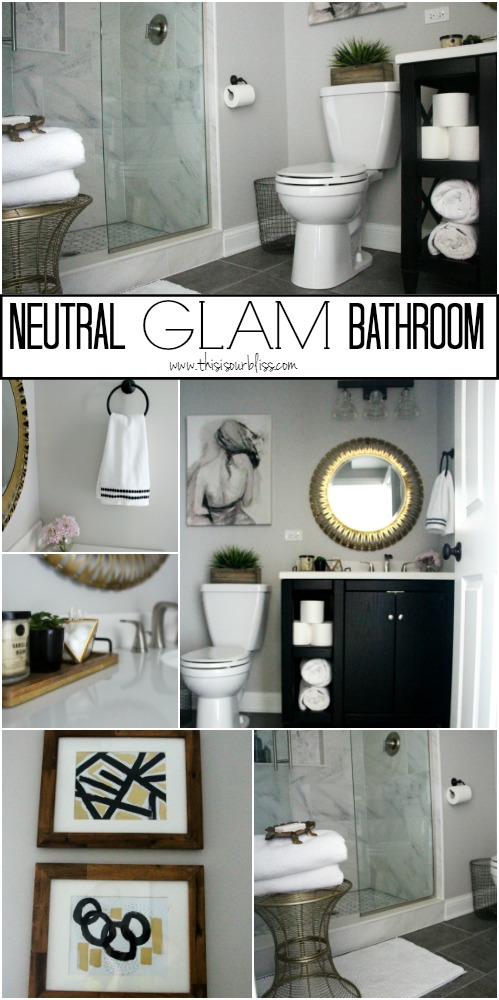 Bat Bathroom Reveal Neutral Glam Decor Black White Gold And Gray