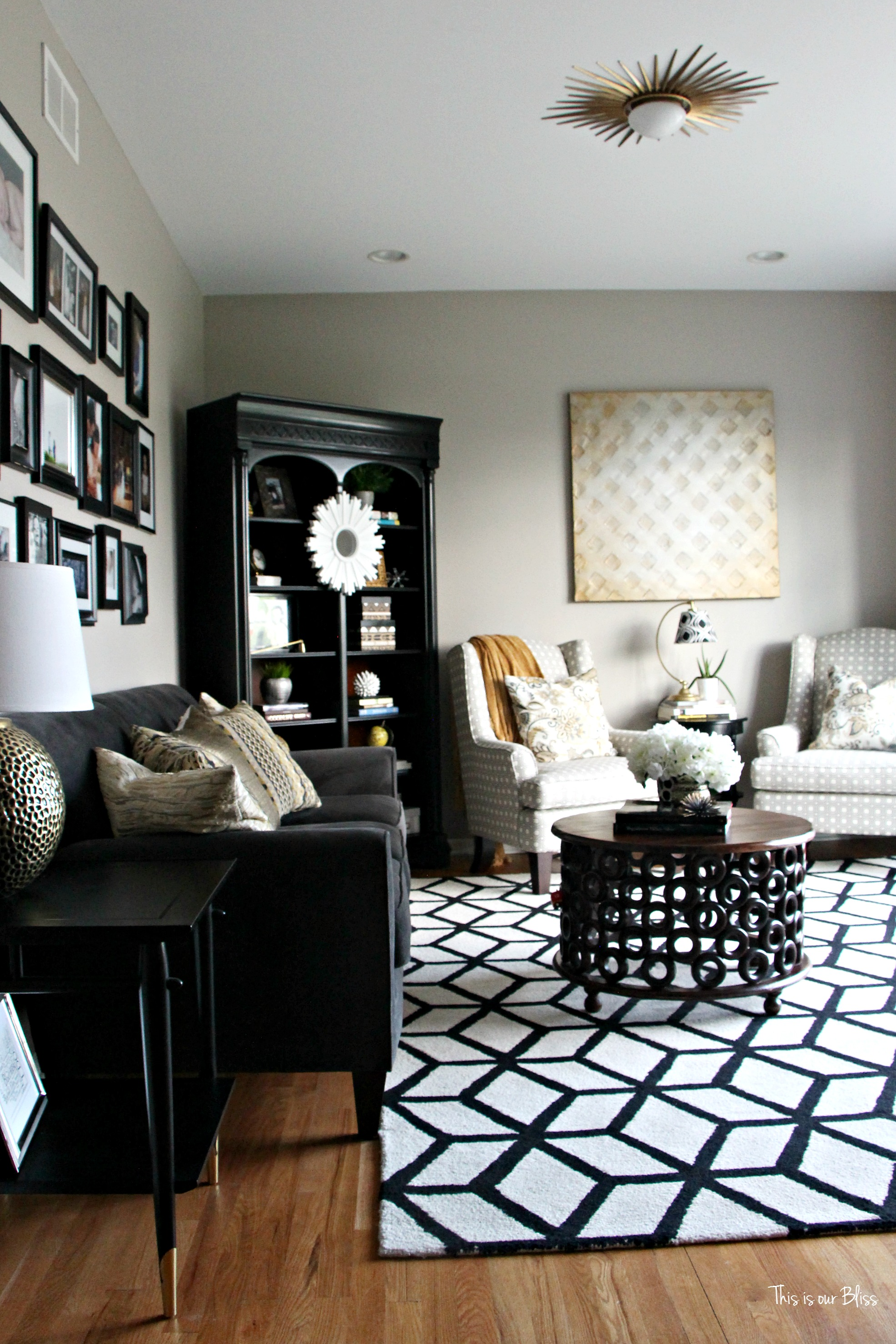 12 Bold Black White Geometric Rugs on Antique Nursery Furniture