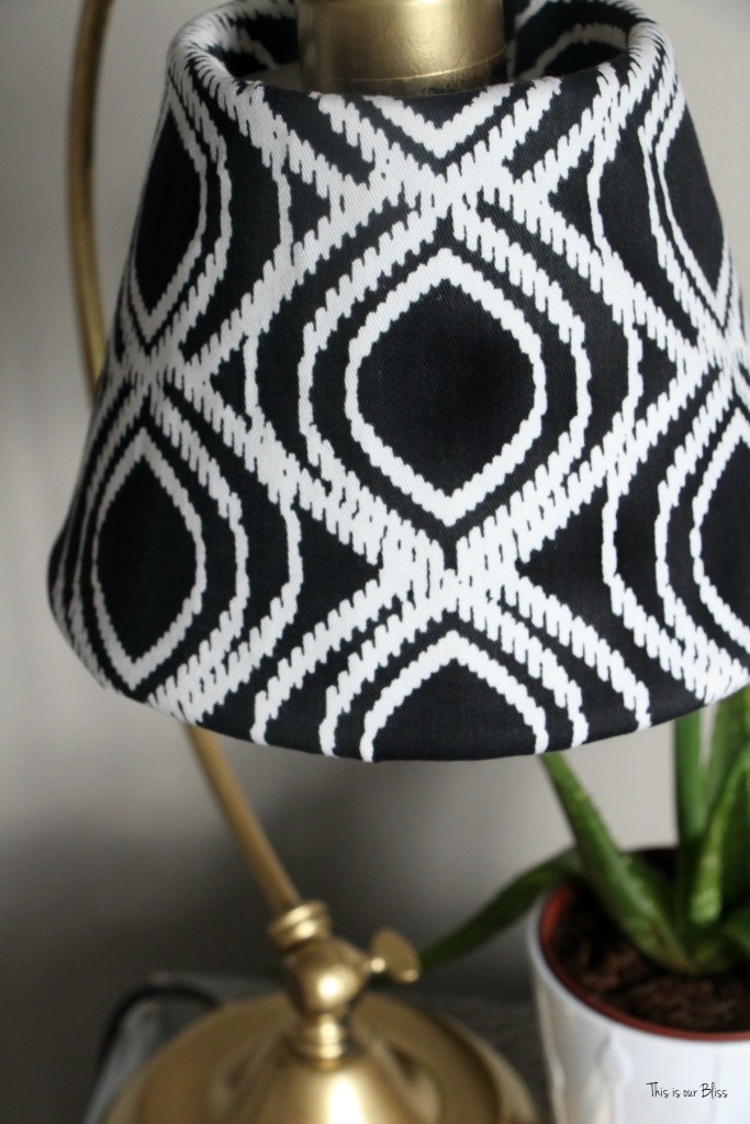 Its so ugly its cool thrift challenge   Lampshade redo   how to recover an old lampshade   black white and gold decor   DIY lampshade 8   This is our Bliss