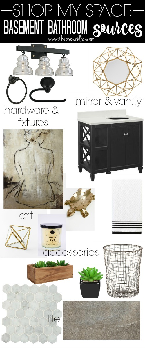 shop my space basement bathroom sources | Neutral glam bathroom decor | This is our Bliss