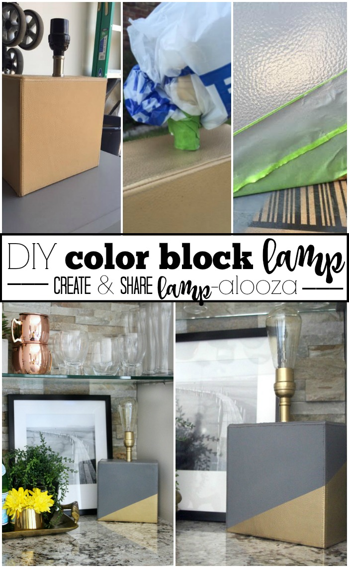 DIY Color Block Lamp | Create And Share Lampalooza | Gray And Gold |  Thrifted Lamp