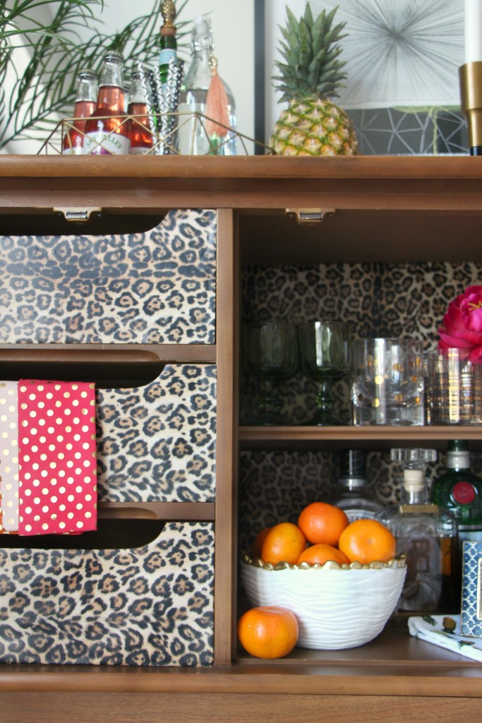 Eddie Ross Inspired Bar | Inspired by DIY | Indoor summer bar styling | dresser upcyle leopard | This is our Bliss | www.thisisourbliss.com