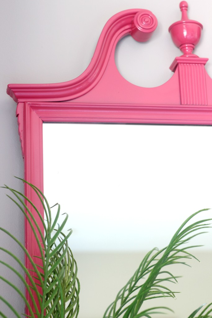 Eddie Ross Inspired by DIY   Indoor summer bar styling   Thrifted mirror makeover   painted pink mirror detail   This is our Bliss