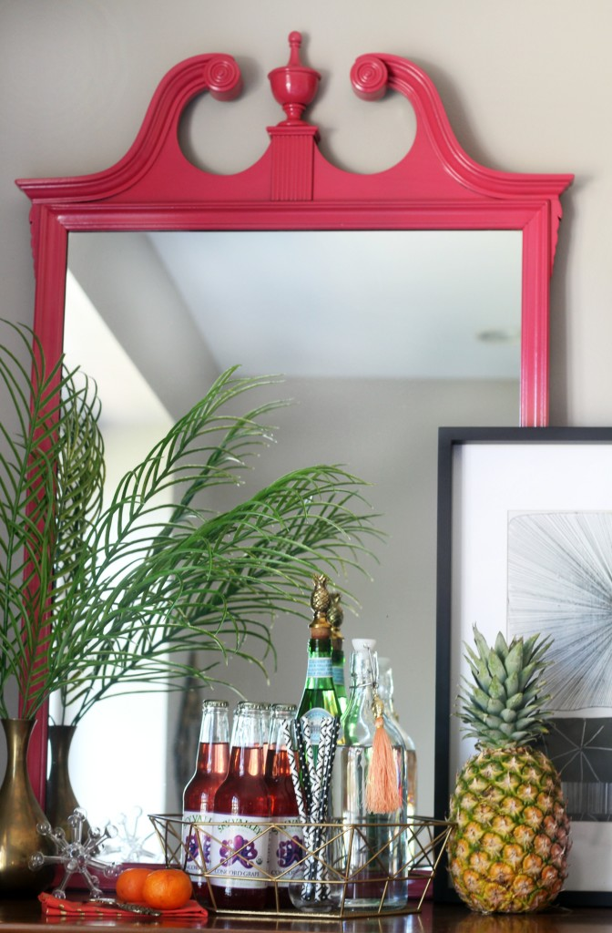Inspired by DIY | Indoor summer bar styling | Thrifted mirror makeover | spraypainted pink mirror detail | This is our Bliss