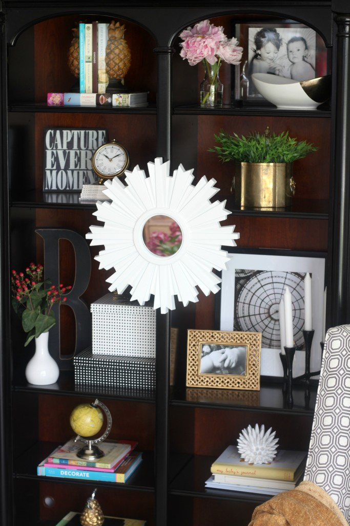 Summer Home Tour | Summer styled bookcase shelves | how to style a bookcase | Eclectic summer home tour | This is our Bliss | www.thisisourbliss.com
