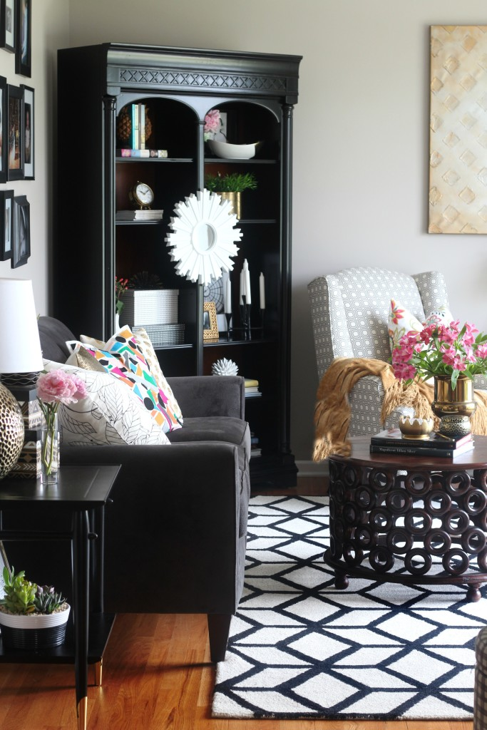 Summer Home Tour | Summer styled formal living room | Bold pattern with pops of color | Eclectic summer home tour | This is our Bliss