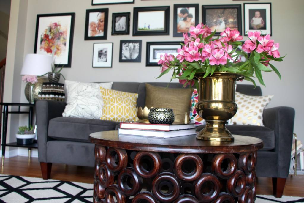 Summer Home Tour | summer styled formal living room | fresh flowers and pops of color | Eclectic summer home Tour | This is our Bliss | www.thisisourbliss.com