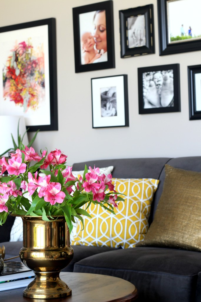 Summer Home Tour | summer styled living room coffee table and gallery wall | Eclectic summer home tour | This is our Bliss | www.thisisourbliss.com