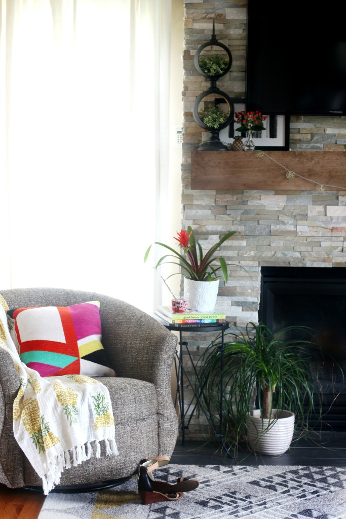 Summer Home Tour summer styled mantel and family room bold pop of color Eclectic Summer Home Tour This is our Bliss www.thisisourbliss.com