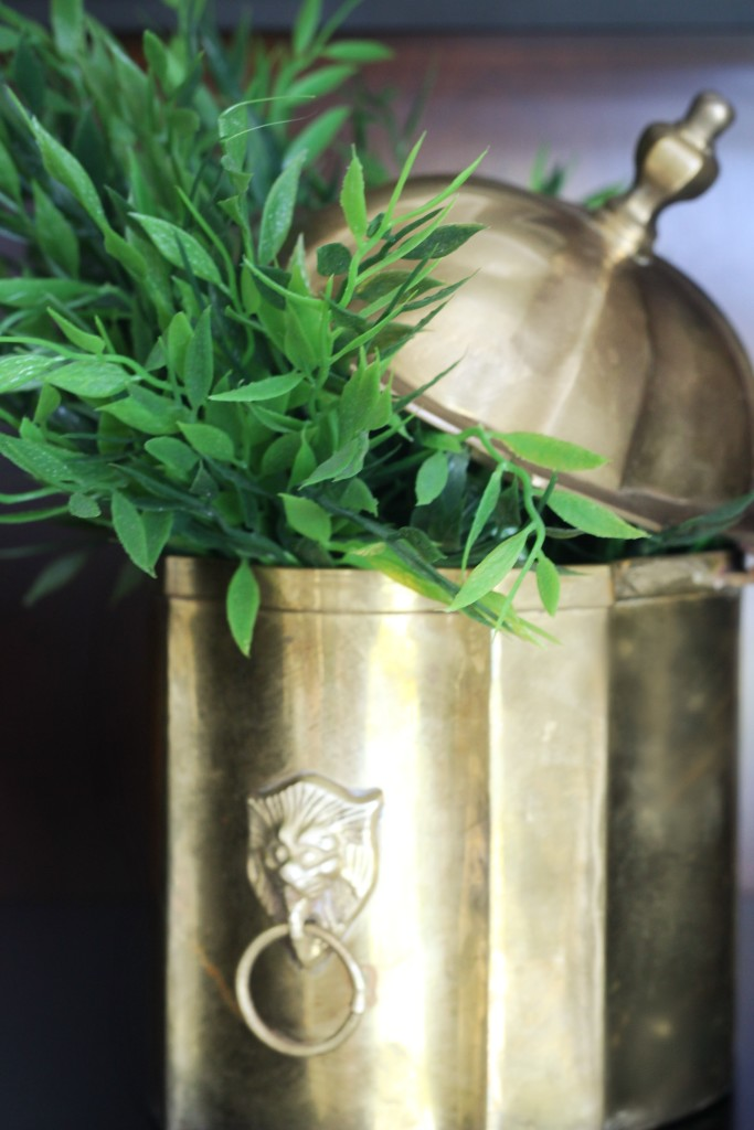 Thrifted find   brass lion head bucket with lid   Its so ugly its cool thrift challenge   This is our Bliss   www.thisisourbliss.com