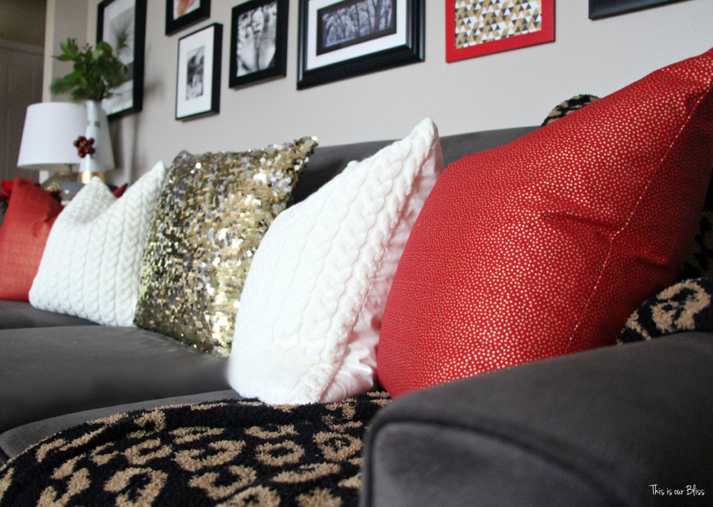 Christmas Forma living room | mixing prints | festive throw pillows | This is our Bliss