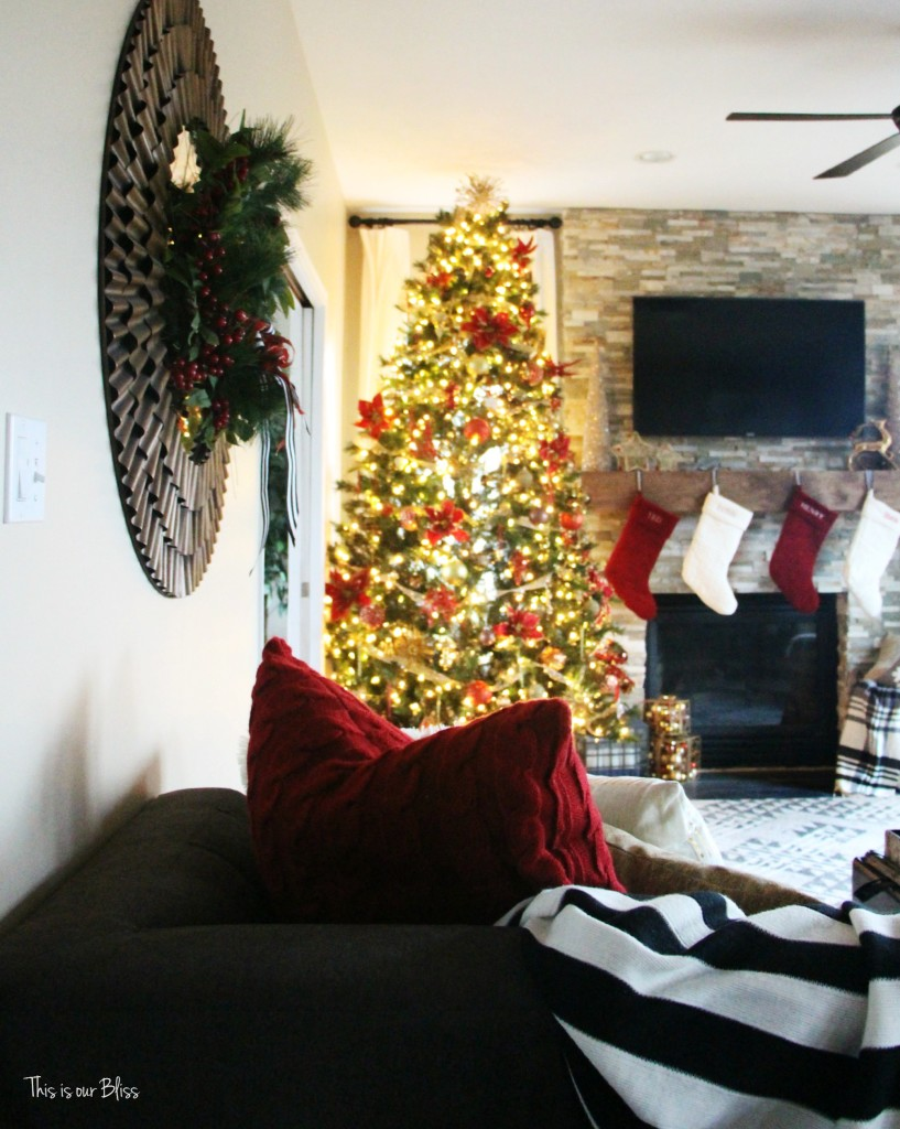 Christmas Family Room & mantel styling | Christmas inspiration | This is our Bliss