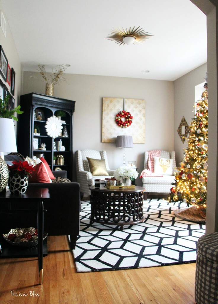 Christmas Formal Living Room | Bold prints of black and white | holiday decor and inspiration | This is our Bliss