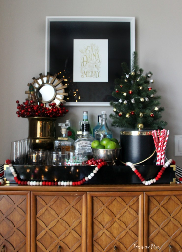 Holiday Bar | Christmas decor and inspiration | how to create a holiday bar | This is our Bliss