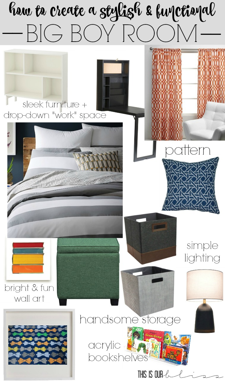 How to create a stylish and functional Big Boy Room   Curious Little Gentleman   Big Boy Room Mood Board   This is our Bliss    www.thisisourbliss.com