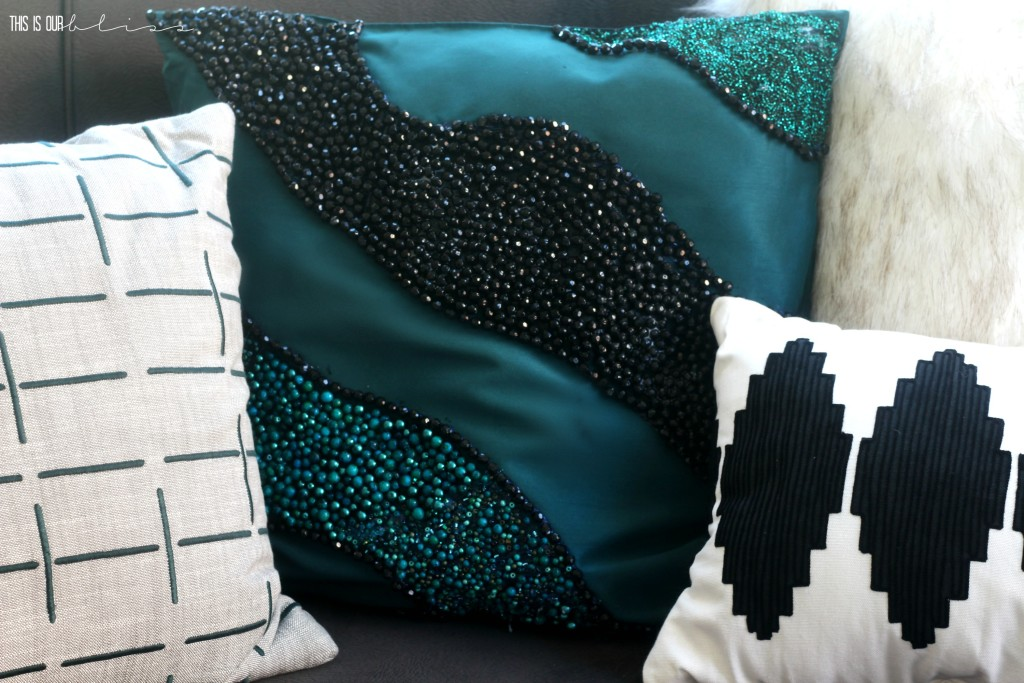 West Elm Inspired beaded pillow   DIY beaded pillow   This is our Bliss   www.thisisourbliss.com