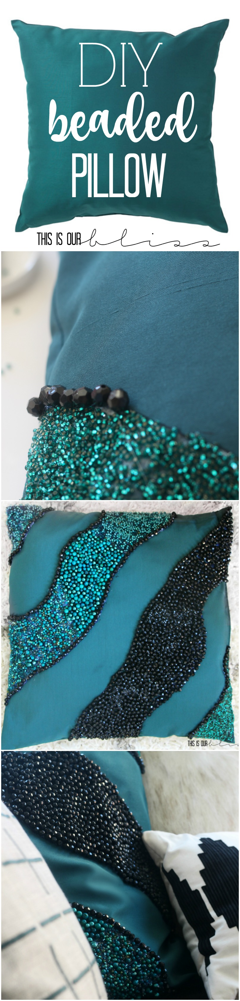 DIY no-sew pillow   West Elm beaded pillow knock-off   This is our Bliss   www.thisisourbliss.com