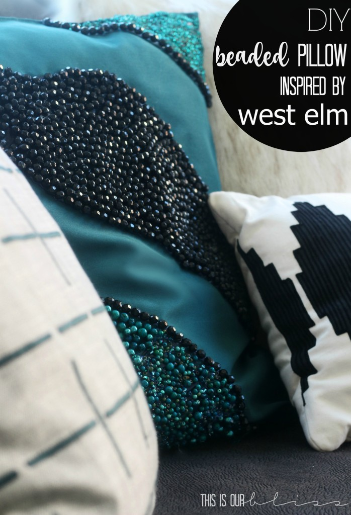 West Elm Inspired DIY beaded pillow | This is our Bliss | www.thisisourbliss.com