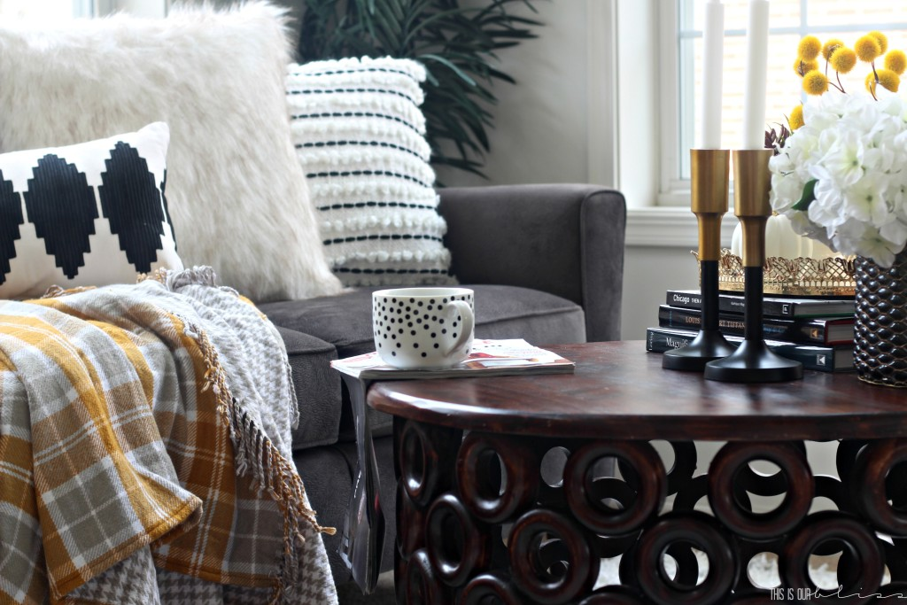 Fall living room with cozy plaid flannel throw blanket | Fall Home Tour 2016 | This is our Bliss | www.thisisourbliss.com