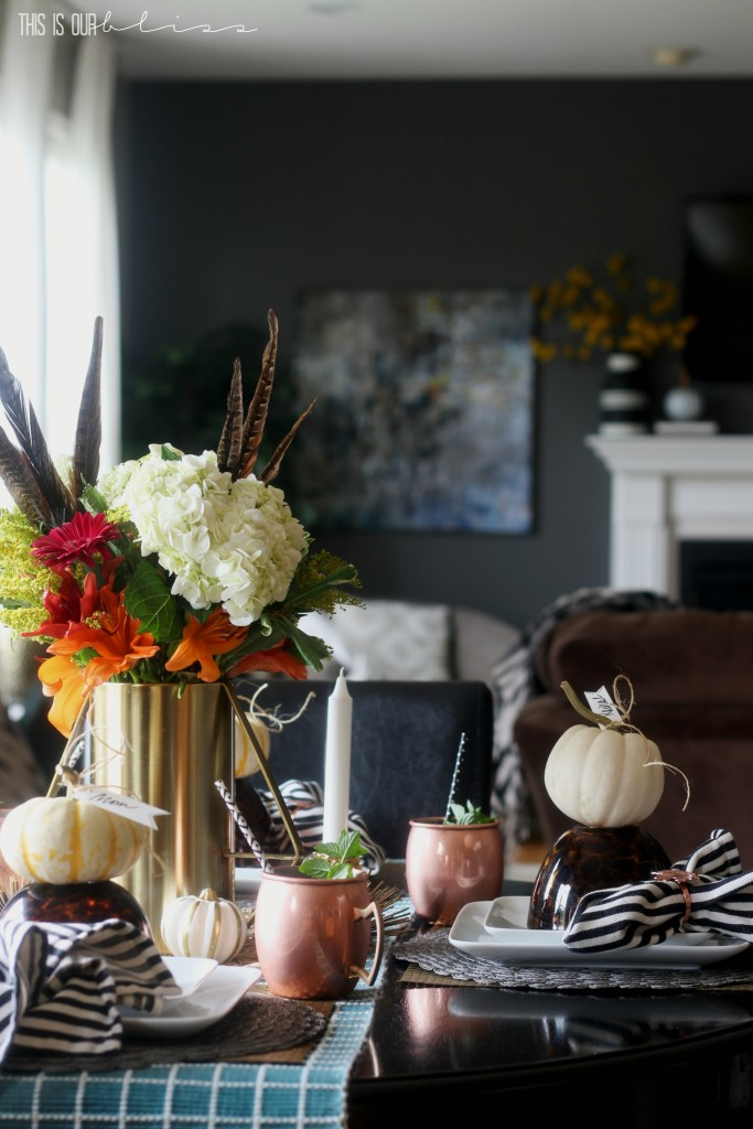 Fall Tablescape perfect for a cozy night in with friends and family | This is our Bliss | www.thisisourbliss.com