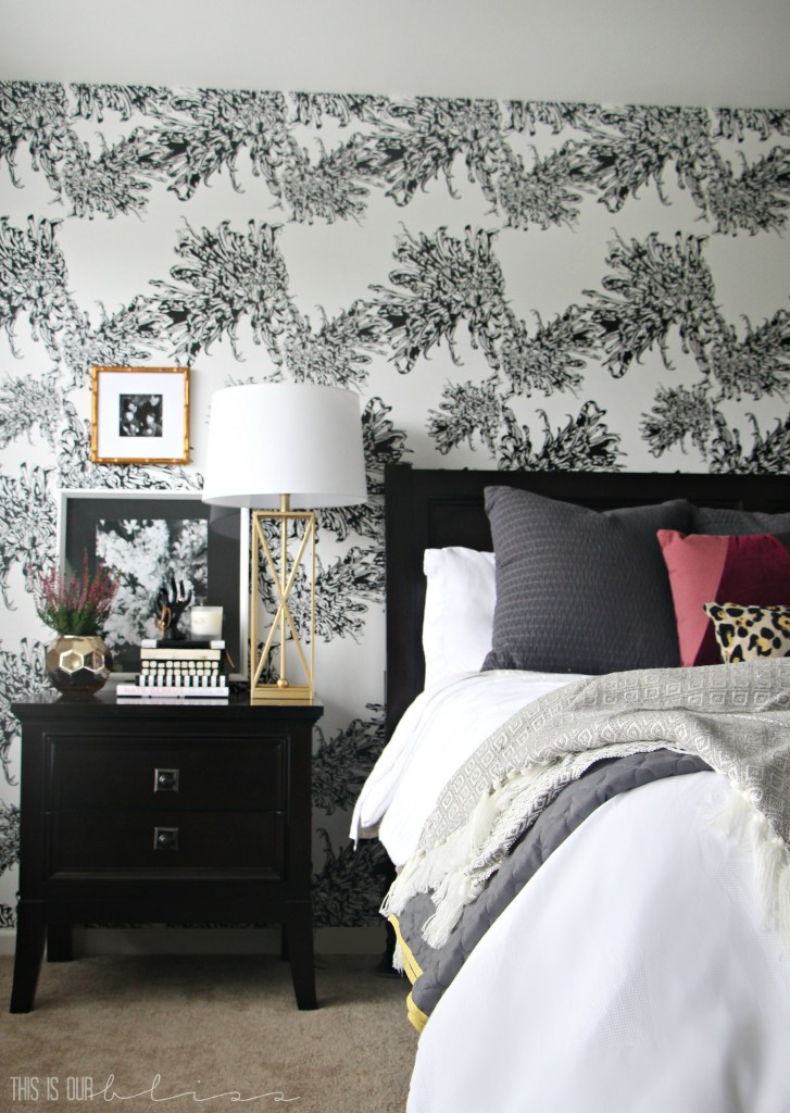 Bedroom Wallpapered accent wall | Glam Master Bedroom | This is our Bliss | www.thisisourbliss.com