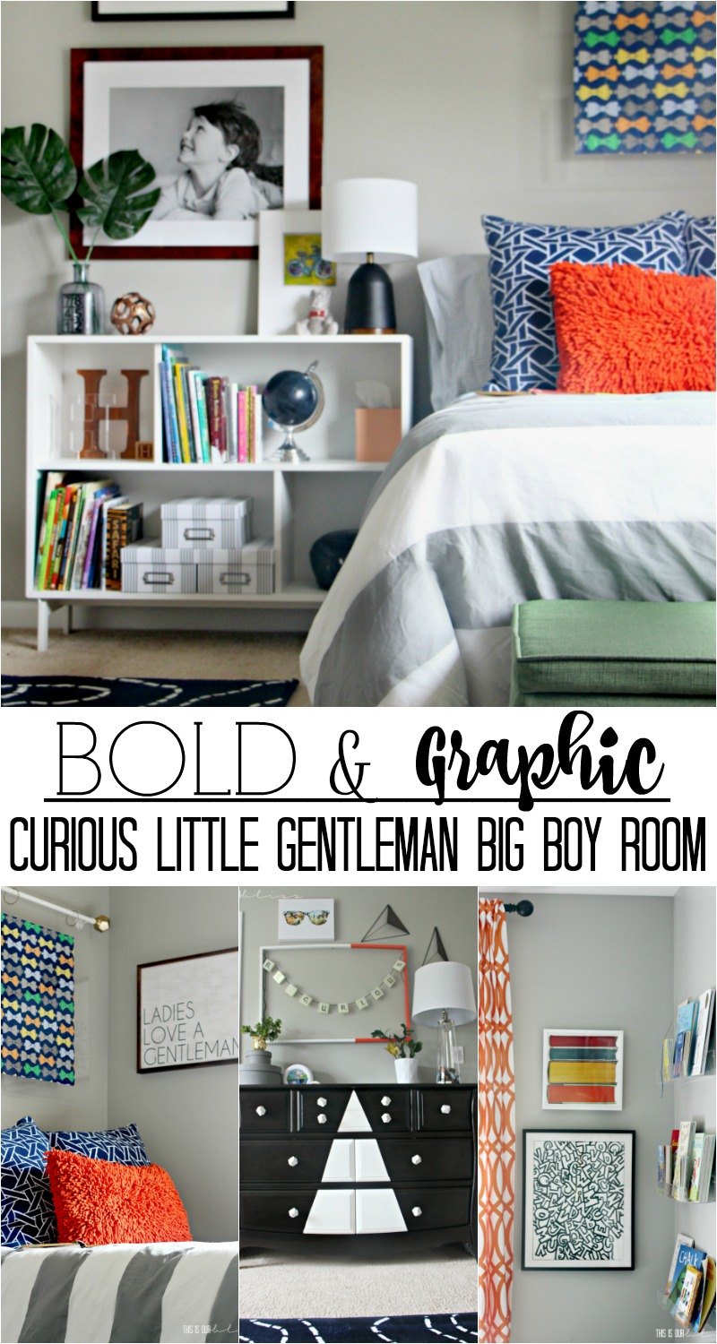 Bold and Graphic Big Boy Room with lots of color, pattern and texture | Curious little gentleman's digs! | This is our Bliss | www.thisisourbliss.com