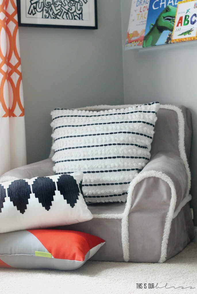 Book corner or reading corner in a little boy's room | This is our Bliss