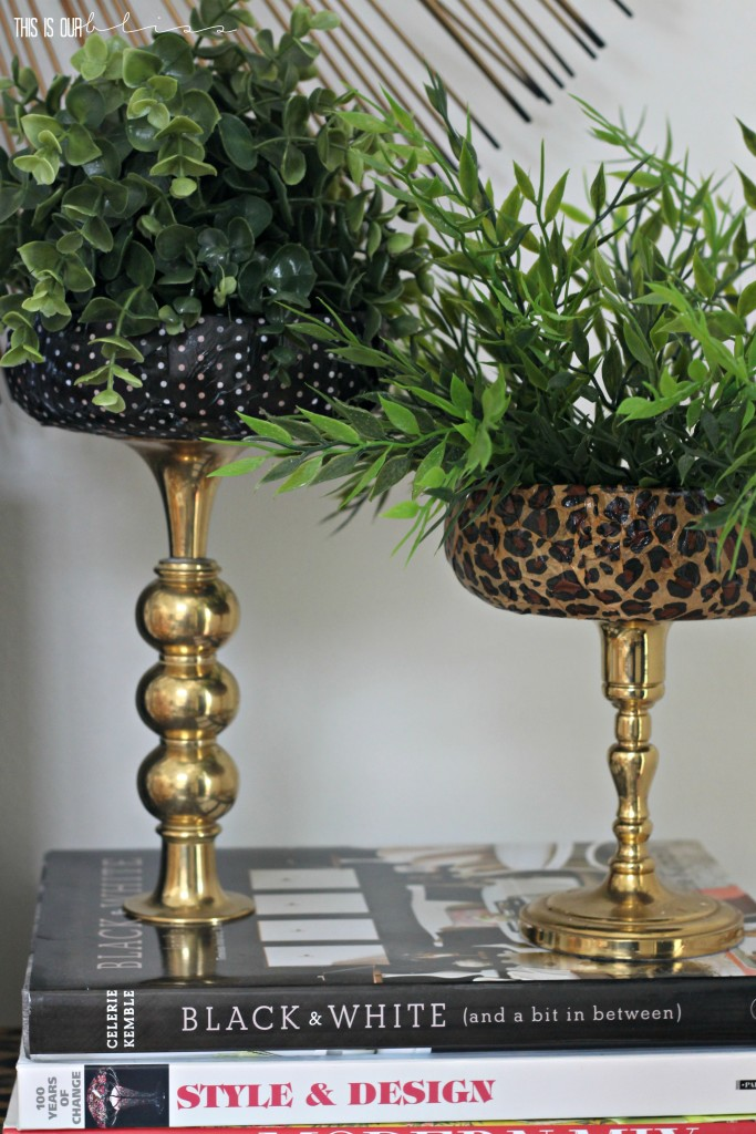 Patterned & Brass Faux Planter stands   Swap It Like Its Hot   This is our Bliss