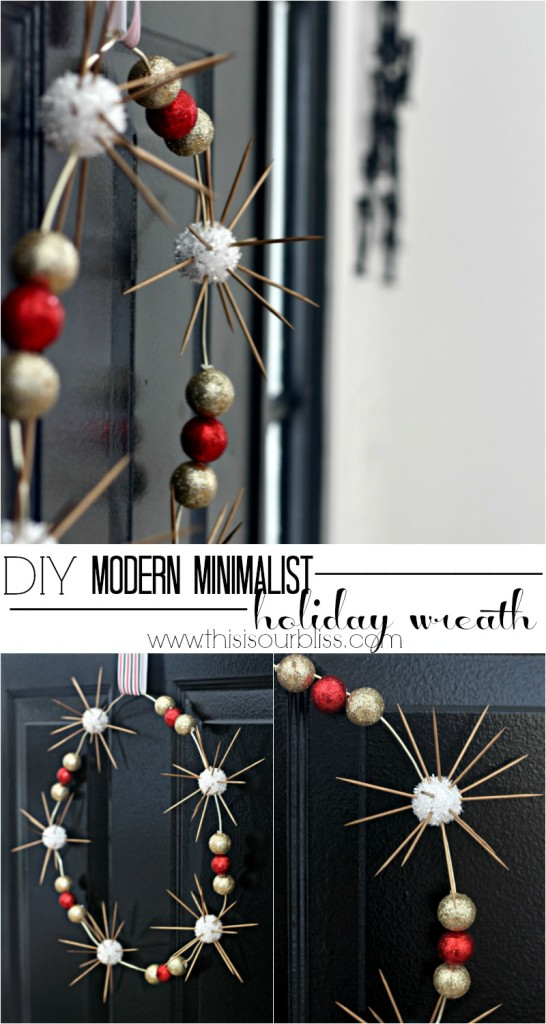 DIY Sputnik Inspired Modern Minimalist Holiday Wreath | DIY Holiday wreath with mini sunbursts! | This is our Bliss | www.thisisourbliss.com