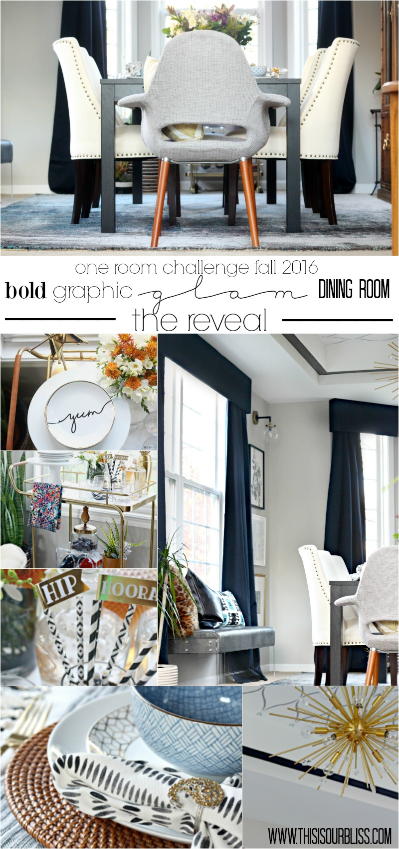 Bold Graphic Glam Dining Room Reveal | Fall 2016 One Room Challenge | Reveal + full source list! | This is our Bliss | www.thisisourbliss.com