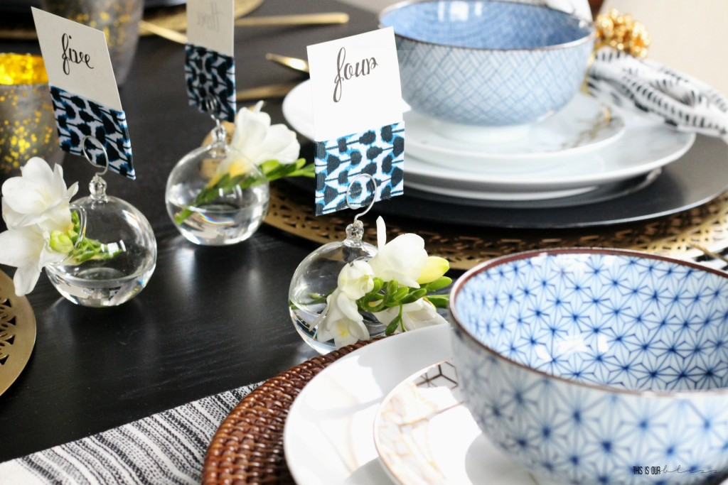 Bold Graphic Glam Dining Room Makeover | One Room Challenge Fall 2016 | black, white, blue and gold Tablescape with Modern, Eclectic touches | This is our Bliss | www.thisisourbliss.com