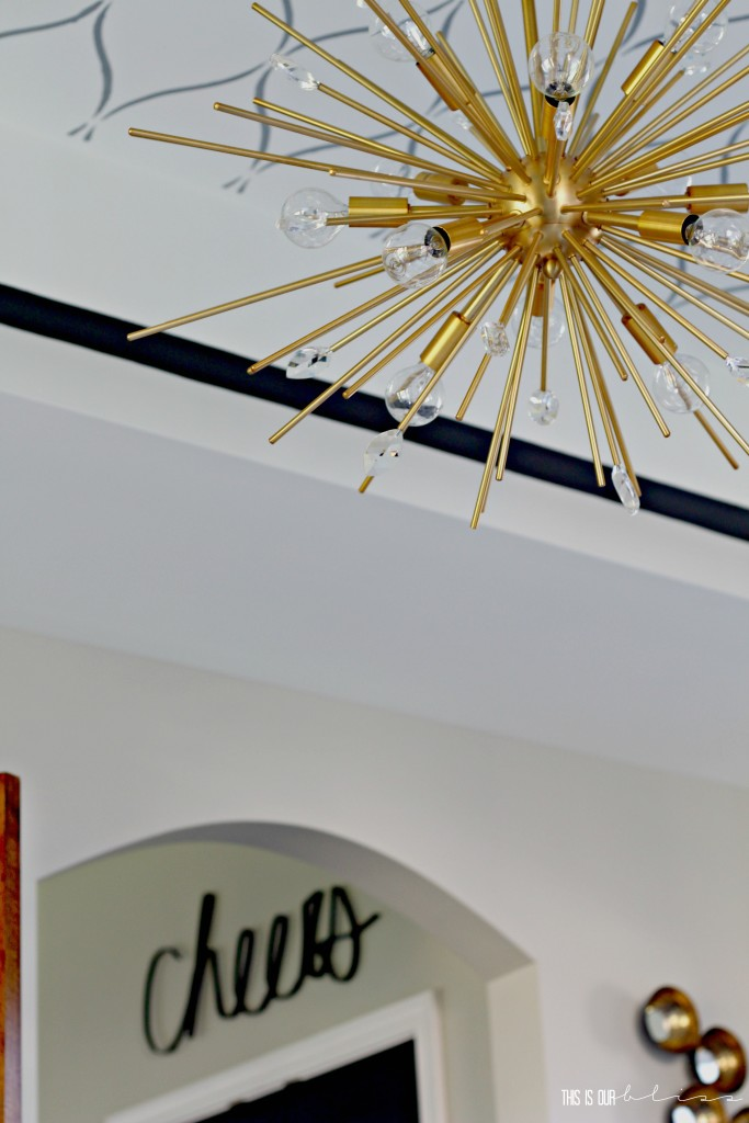 Bold Graphic Glam Dining Room Reveal | One Room Challenge Fall 2016 | Dining Room Sputnik chandelier | This is our Bliss | www.thisisourbliss.com