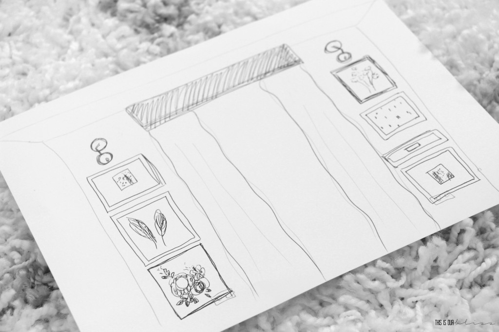 Try sketching out your gallery wall layout before you start hanging! | Dining Room Gallery wall planning for the ORC | This is our Bliss | www.thisisourbliss.com