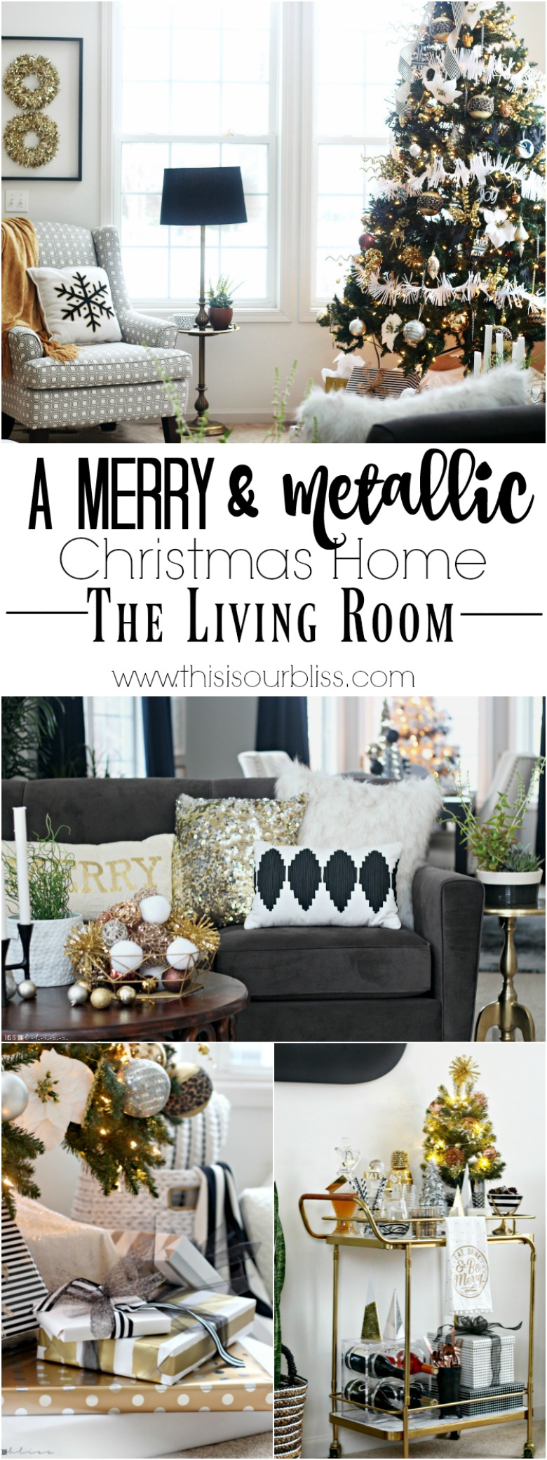 A Merry & Metallic Christmas Home The Living Room | 12 Days of Holiday Homes Tour 2016 | This is our Bliss | www.thisiosurbliss.com