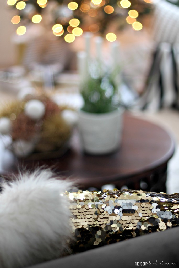 A Merry and Metallic Christmas Home | 12 Days of Holiday Homes Tour 2016: This is our Bliss Christmas Living Room | Festive Metallic Sequin pillow || www.thisisourbliss.com