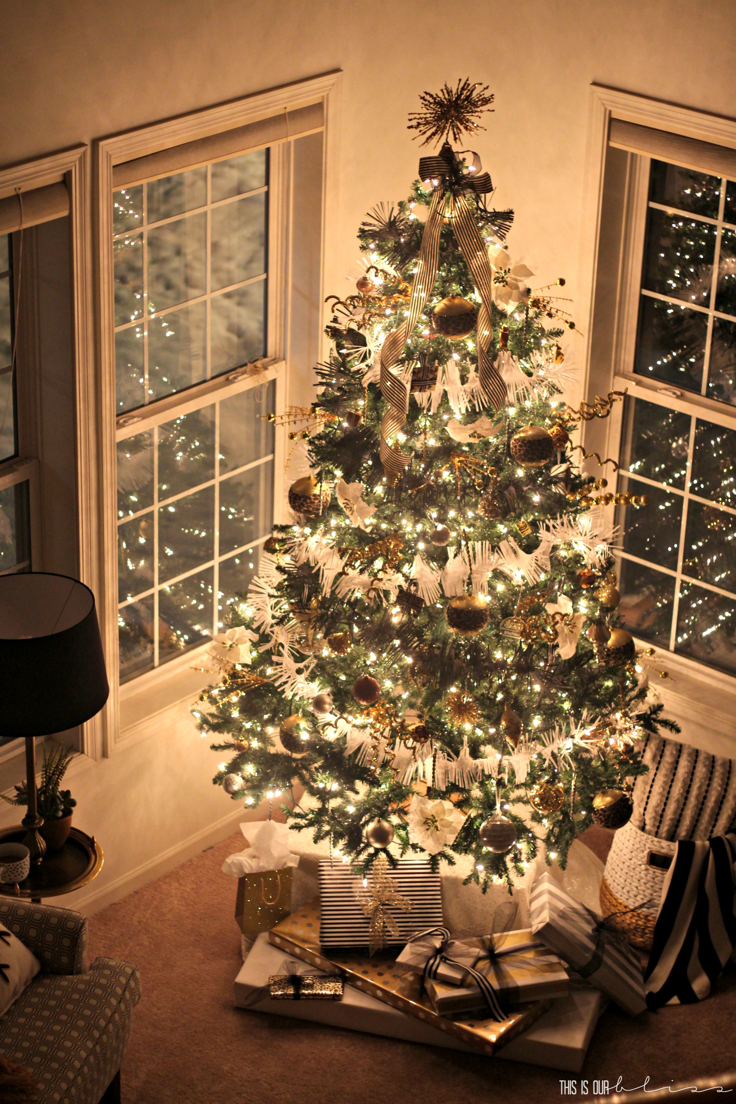 Bold Neutral Glam Christmas Tree In The Living Room This