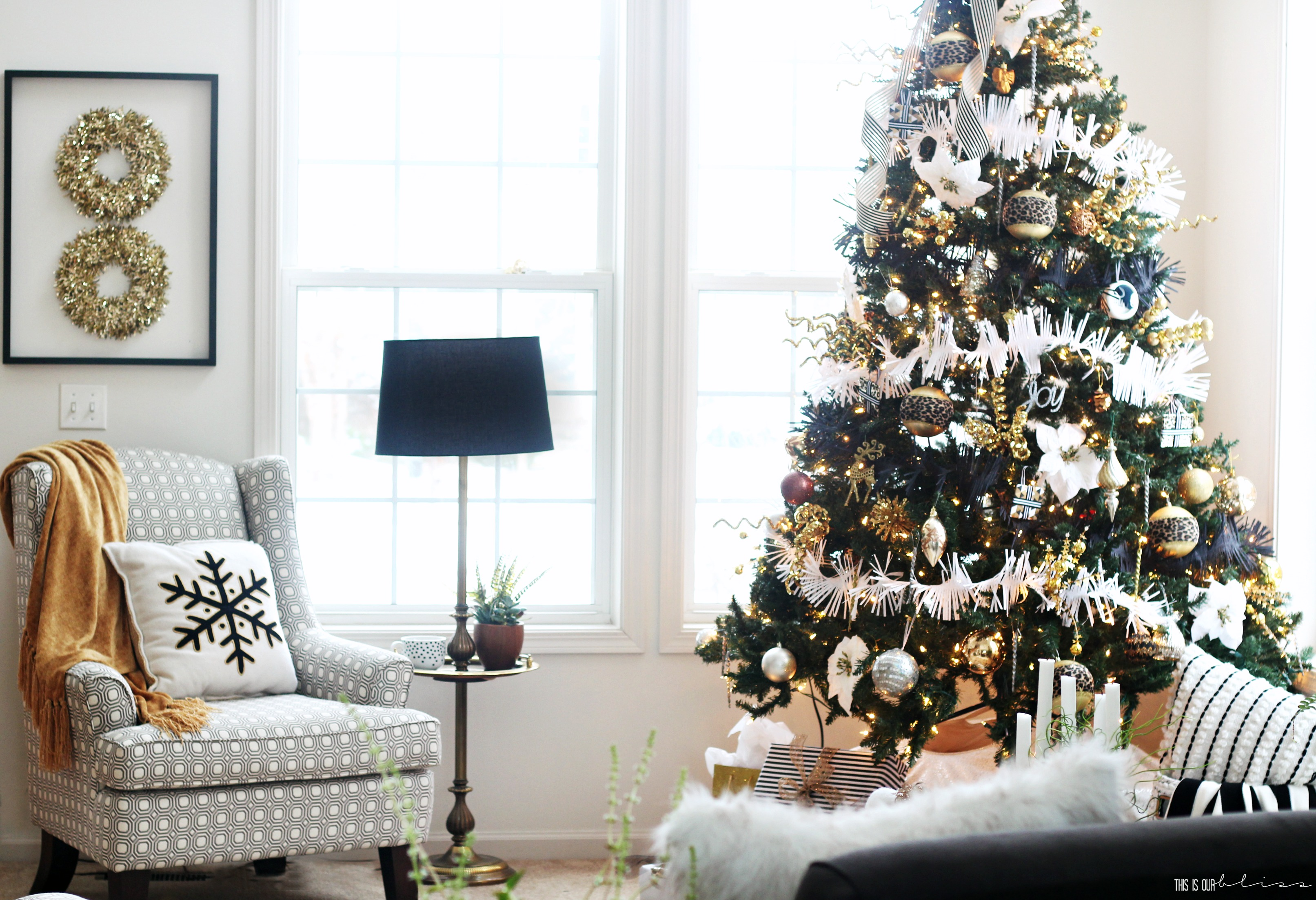 Bold Neutral Glam Christmas Tree in the Living Room | This is our Bliss